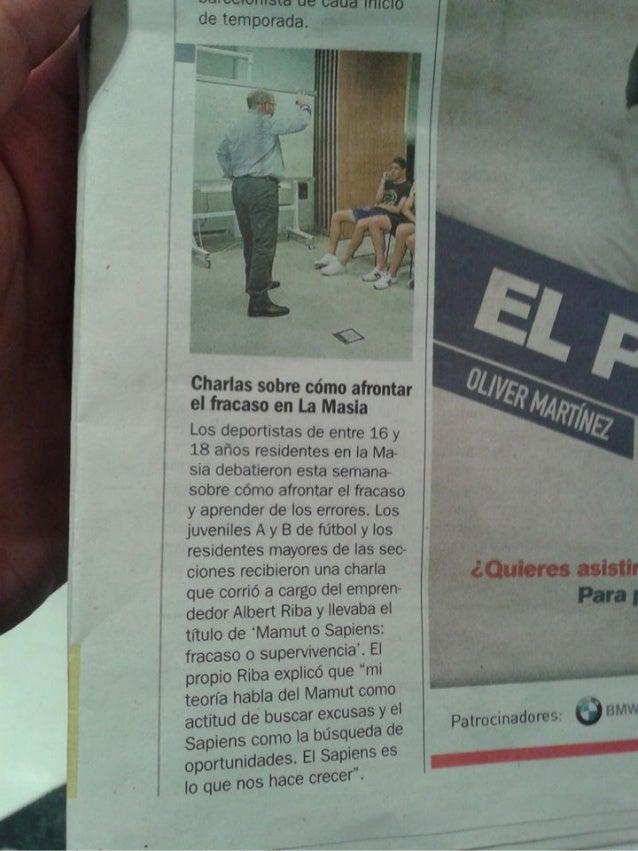 Diario SPORT : Ponencia Mamut o Sapiens en La Masia del Fc Barcelona