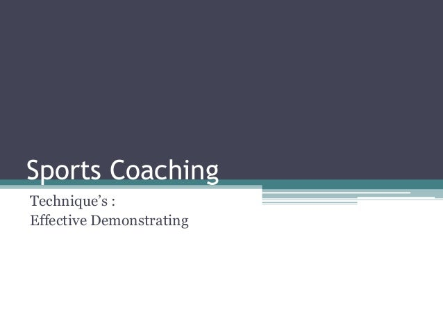Efffective Demonstration - Sports Coaching