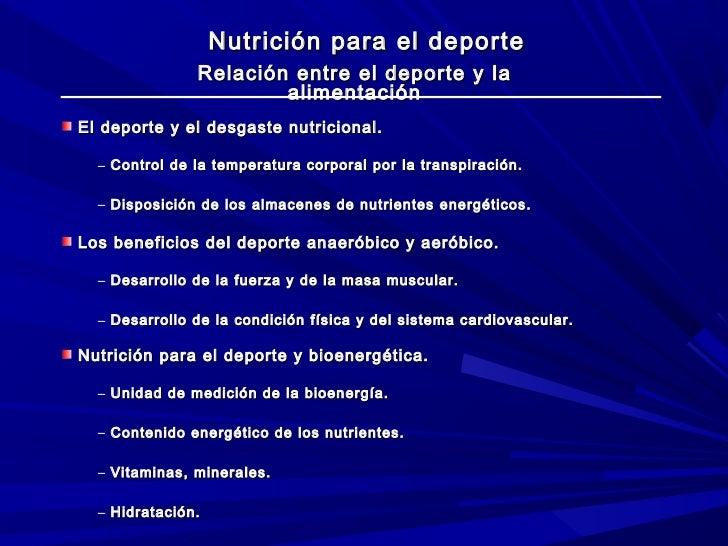 Nutrición para el deporte               Relación entre el deporte y la                       alimentaciónEl deporte y el d...