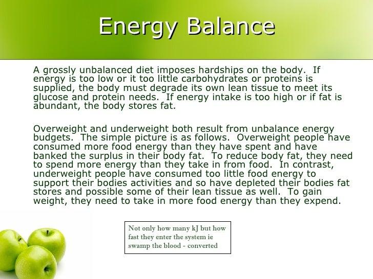 Energy Balance in Sport Energy Balance a