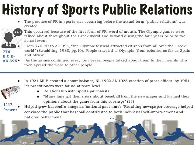 public relations in sports Fitness and sports are one of today's biggest trends understanding of the way  the market works and knowledge of what makes the consumer tick are crucial if.