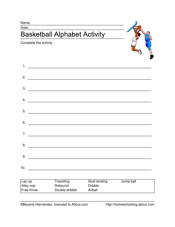 Name:Date:Complete the activity. 1. 2. 3. 4. 5. 6. 7. 8. 9.10.Lay-up                   Travelling         Goal tending    ...