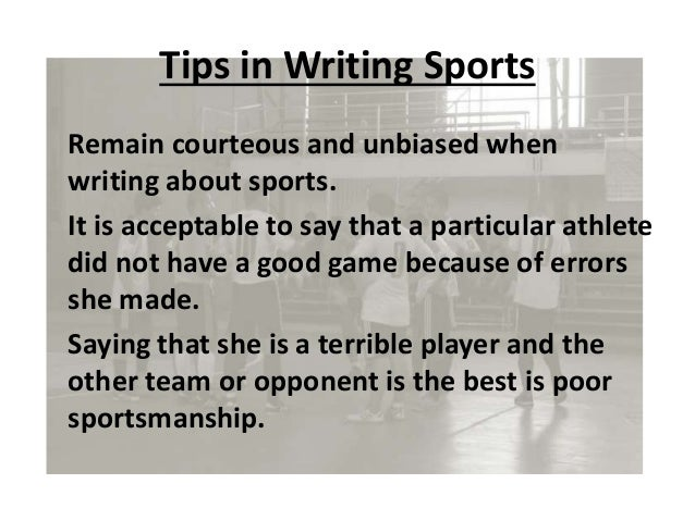 essay writing on sports College essay topic #2: 7 essay tips for writing a college college application essay, sports essay, the essay expert the essay expert is a.