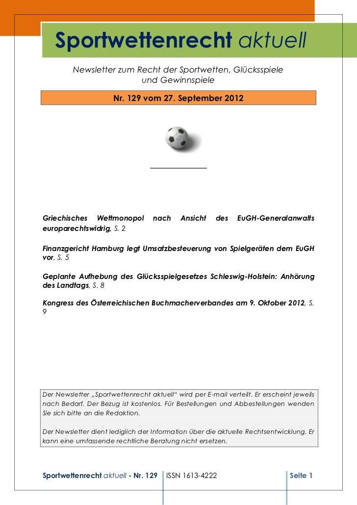 Sportwettenrecht aktuell Nr. 129