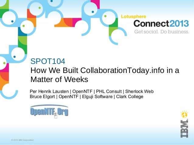 SPOT104                  How We Built CollaborationToday.info in a                  Matter of Weeks                  Per H...