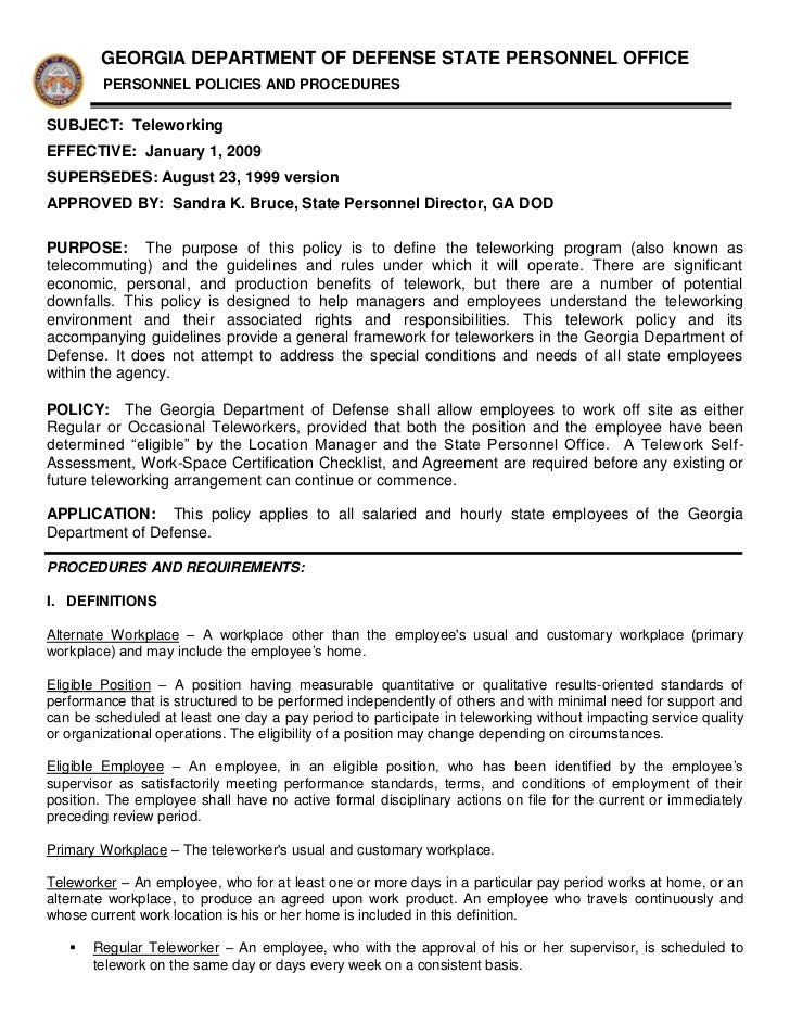 GEORGIA DEPARTMENT OF DEFENSE STATE PERSONNEL OFFICE        PERSONNEL POLICIES AND PROCEDURESSUBJECT: TeleworkingEFFECTIVE...