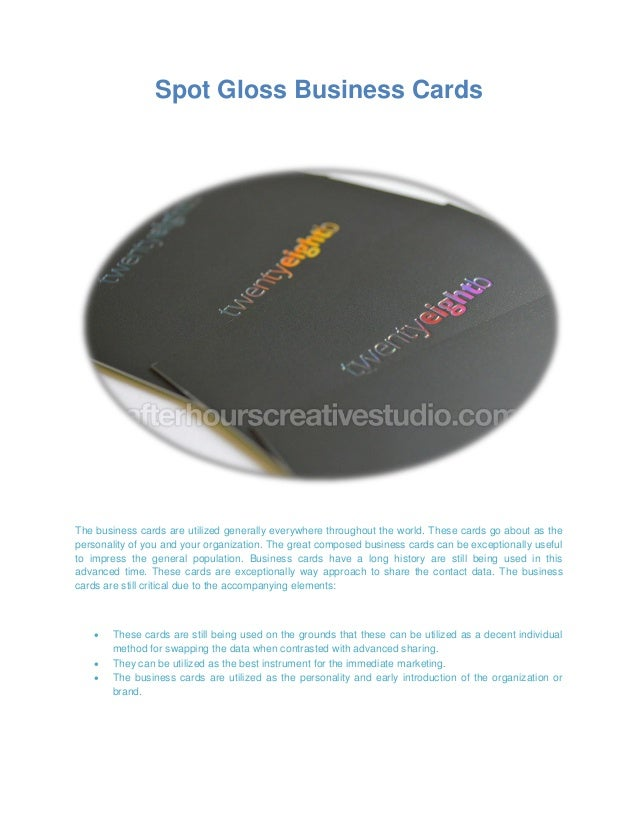 Spot gloss business cards printing