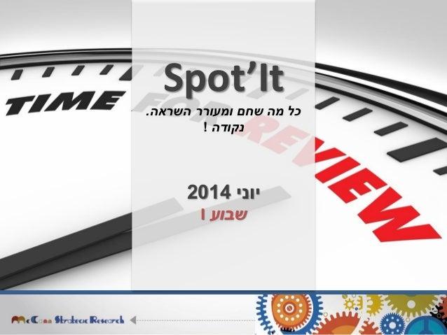 Spot'It השראה ומעורר שחם מה כל. נקודה! יוני2014 שבועI