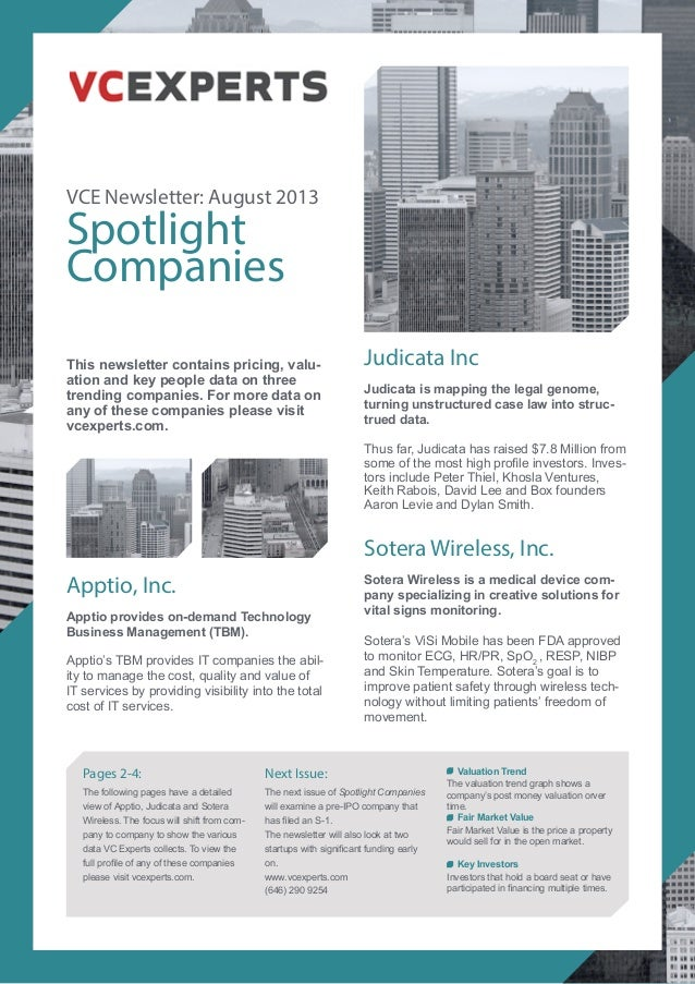 VCE Newsletter: August 2013 Spotlight Companies Judicata Inc Judicata is mapping the legal genome, turning unstructured ca...