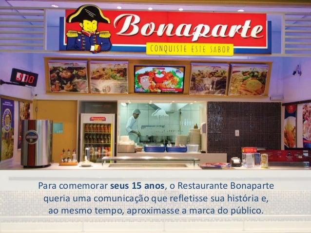Para comemorar seus 15 anos, o Restaurante Bonaparte queria uma comunicação que refletisse sua história e, ao mesmo tempo,...