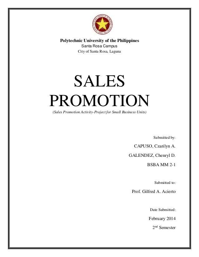 Sales Promotion Proposal for SBU