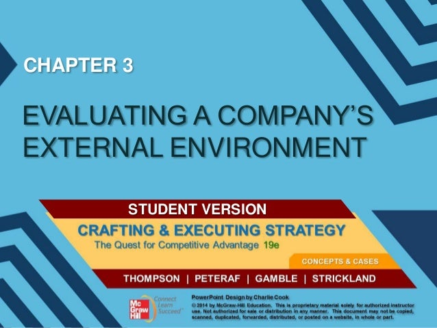 CHAPTER 3  EVALUATING A COMPANY'S EXTERNAL ENVIRONMENT STUDENT VERSION