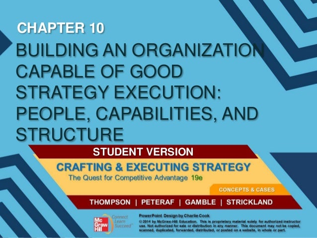 CHAPTER 10  BUILDING AN ORGANIZATION CAPABLE OF GOOD STRATEGY EXECUTION: PEOPLE, CAPABILITIES, AND STRUCTURE STUDENT VERSI...