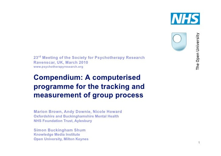 23rd Meeting of the Society for Psychotherapy Research               Ravenscar, UK, March 2010               www.psychothe...