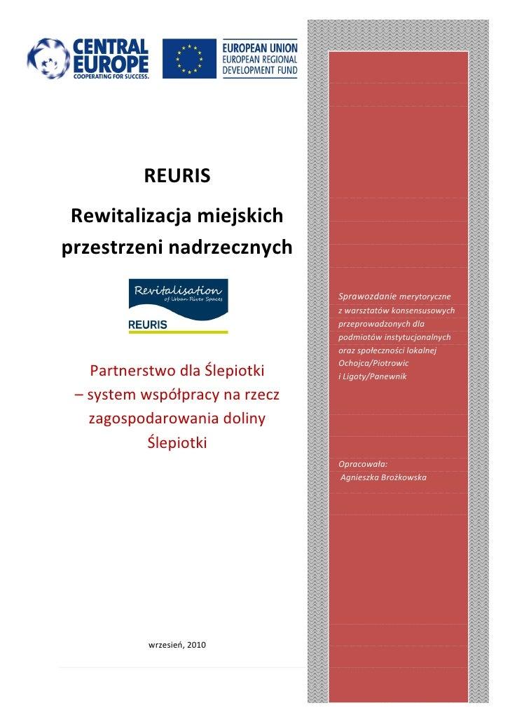 REURIS Rewitalizacja miejskichprzestrzeni nadrzecznych                                Sprawozdanie merytoryczne           ...