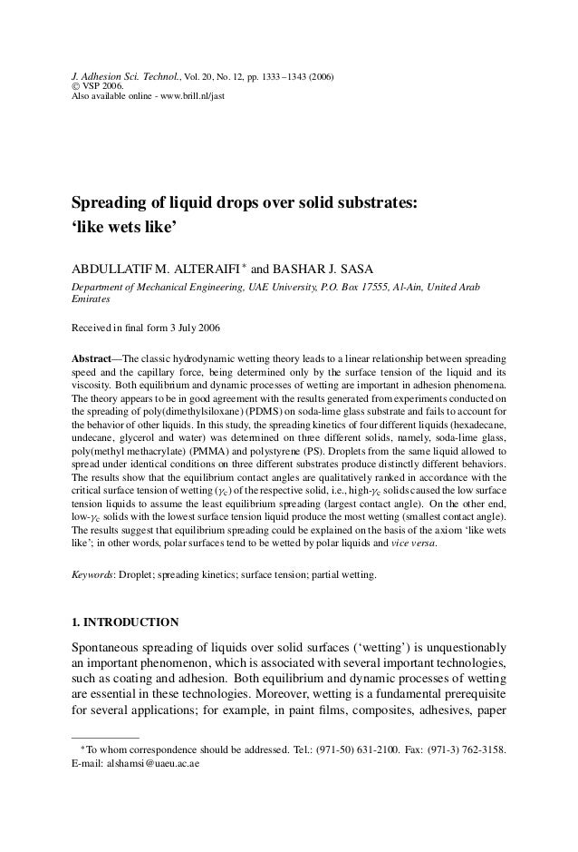 J. Adhesion Sci. Technol., Vol. 20, No. 12, pp. 1333–1343 (2006)  VSP 2006. Also available online - www.brill.nl/jast Spr...