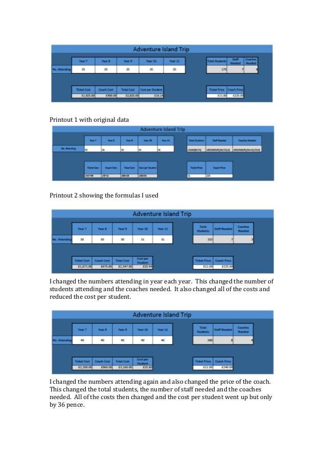 Spreadsheet printouts