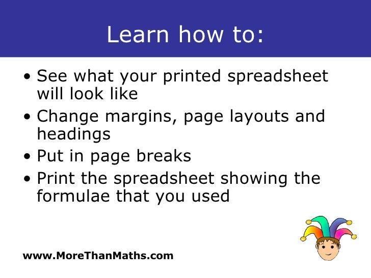 Spreadsheets Page Setup And Printing