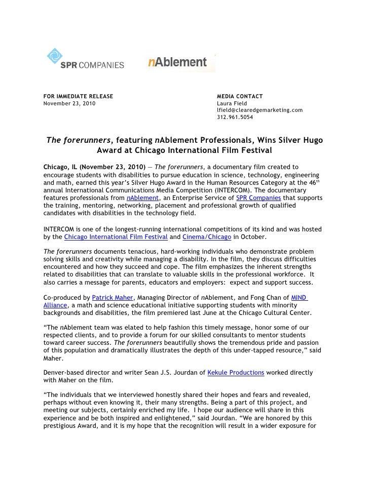 Spr forerunners silver hugo award press release   final