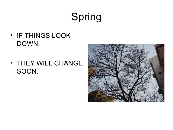 Spring <ul><li>IF THINGS LOOK DOWN, </li></ul><ul><li>THEY WILL CHANGE SOON. </li></ul>