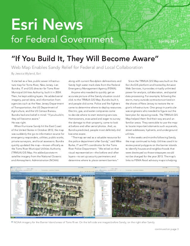 """""""If You Build It, They Will Become Aware"""" Web Map Enables Sandy Relief for Federal and Local Collaboration By Jessica Wyla..."""
