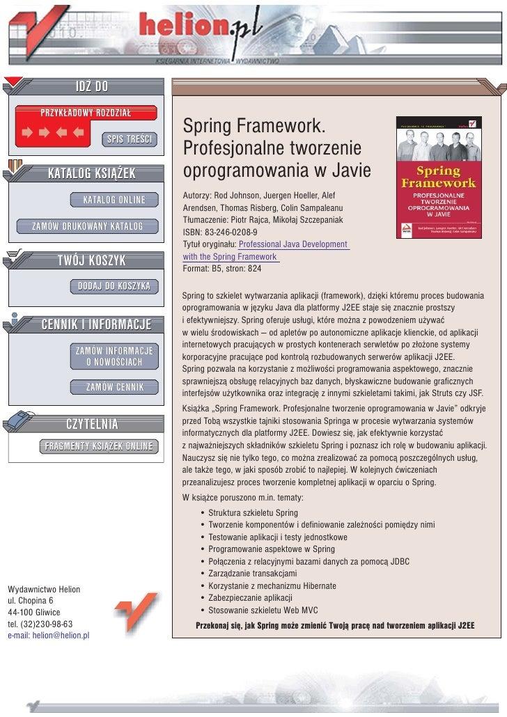 Spring Framework. Profesjonalne tworzenie oprogramowania w Javie