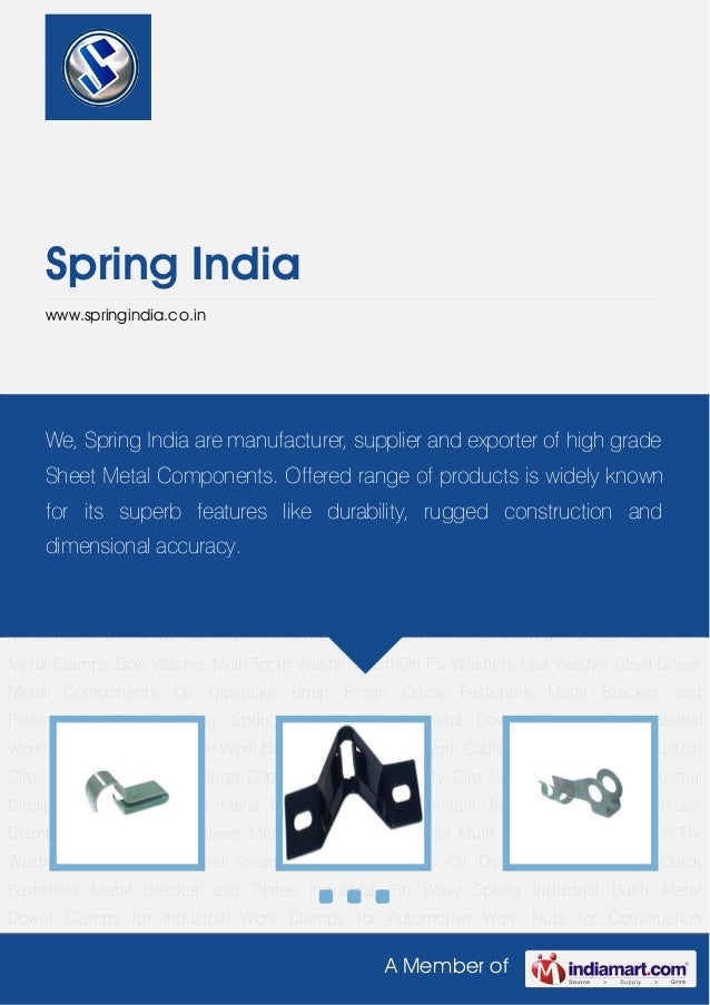 A Member of Spring India www.springindia.co.in Cable Clip Formed Clip Industrial Clips Lock Clip Metal Omega Clips Retaine...