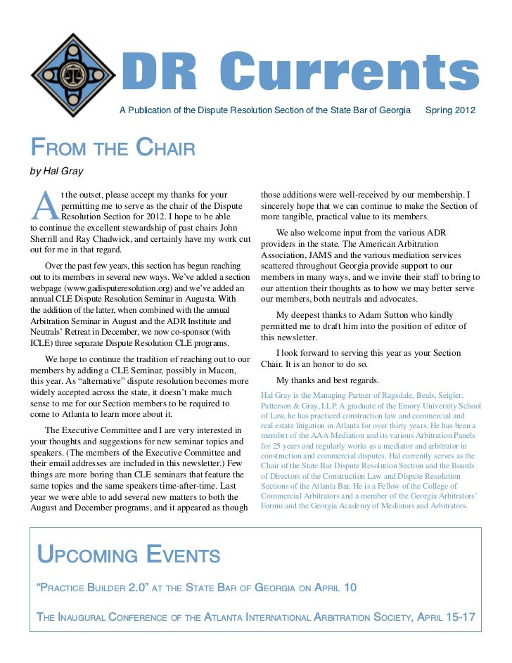 Dispute Resolution Section - State Bar of Georgia - Spring 2012 Newsletter