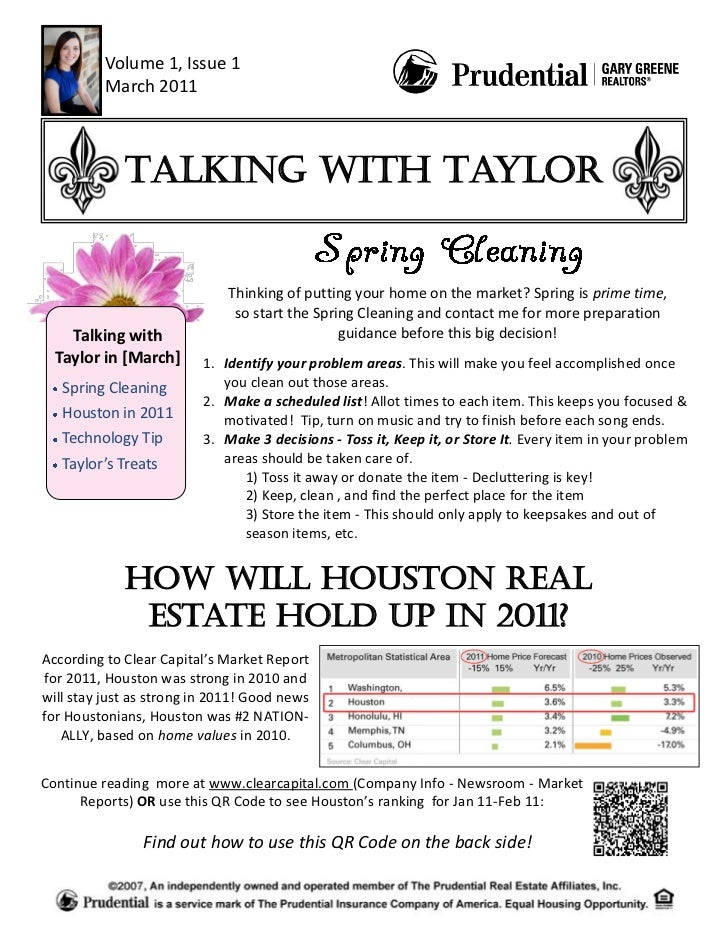 Volume 1, Issue 1          March 2011             Talking with Taylor                             Thinking of putting your...