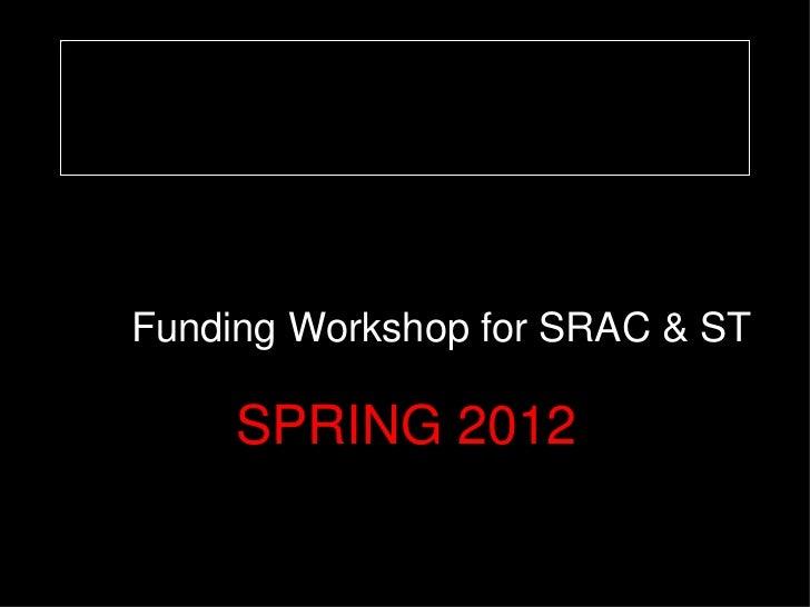 image1.jpg             Funding Workshop for SRAC & ST                  SPRING 2012