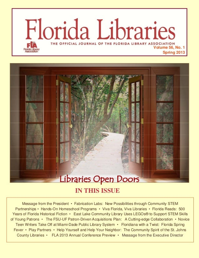 "Spring 2013 Issue of ""Florida Libraries"""