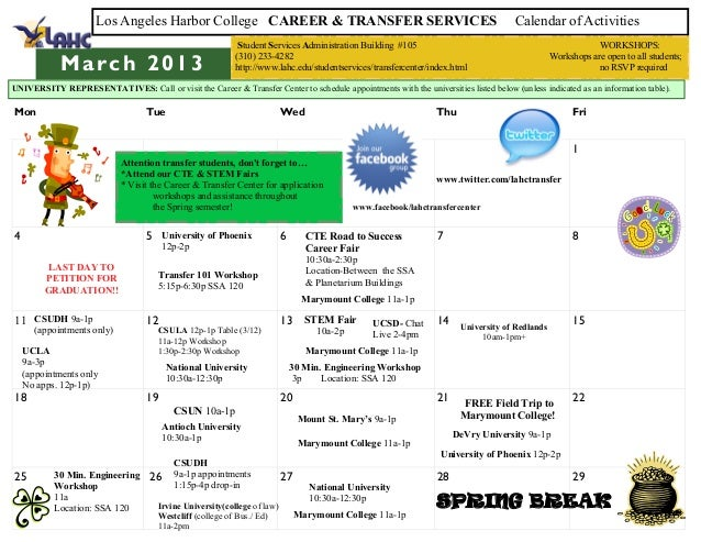 Los Angeles Harbor College CAREER & TRANSFER SERVICES                                                          Calendar of...