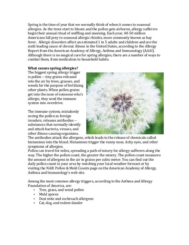 All about Spring seasonal allergies