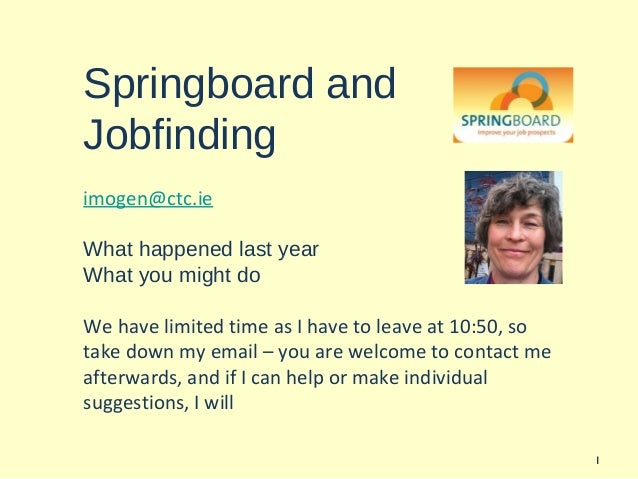 Springboard andJobfindingimogen@ctc.ieWhat happened last yearWhat you might doWe have limited time as I have to leave at 1...