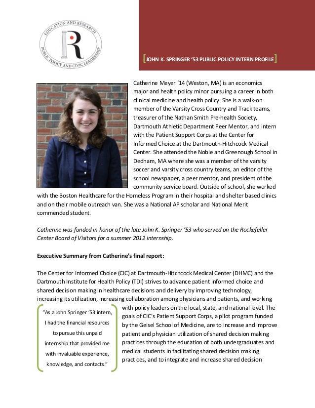 Named Internship Profile Summary - Catherine Meyer (Springer)