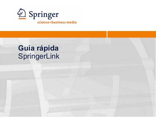 Guía rápida SpringerLink