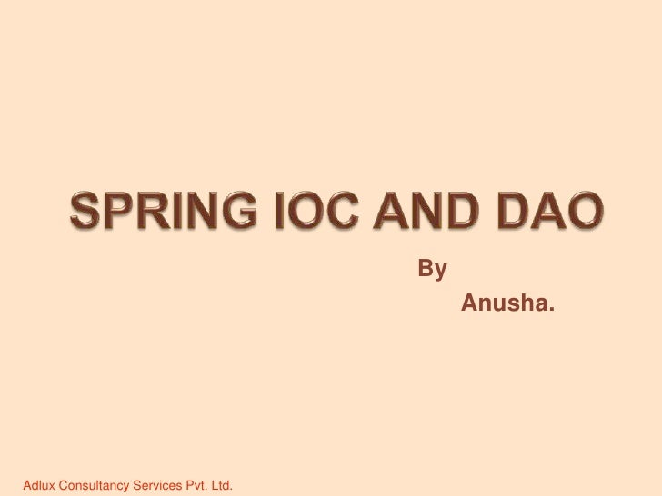 Spring IOC and DAO