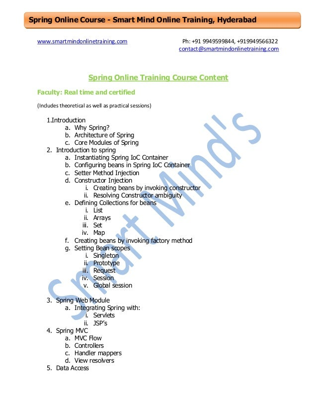Spring online training course content
