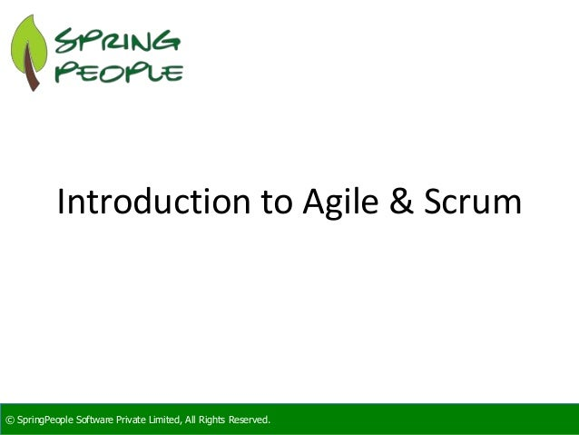 SpringPeople Introduction to Agile and Scrum
