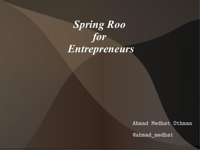 Spring roo for entrepreneurs