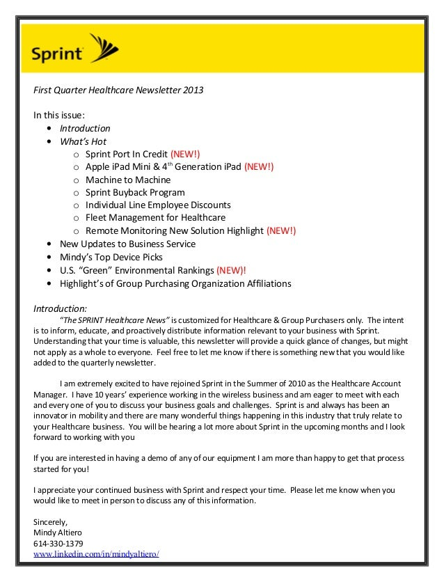First Quarter Healthcare Newsletter 2013In this issue:    • Introduction    • What's Hot           o Sprint Port In Credit...