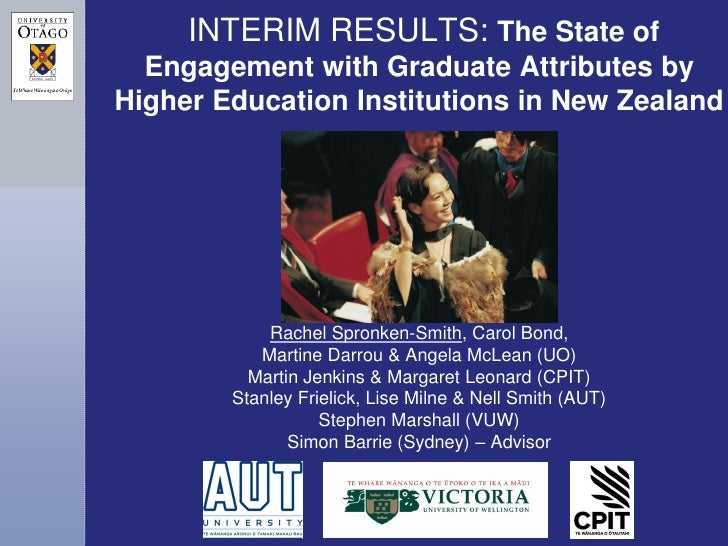 INTERIM RESULTS: The State of  Engagement with Graduate Attributes byHigher Education Institutions in New Zealand         ...