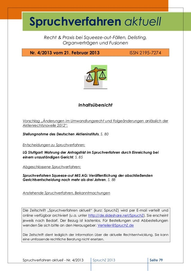 Spruchverfahren aktuell             Recht & Praxis bei Squeeze-out-Fällen, Delisting,                     Organverträgen u...