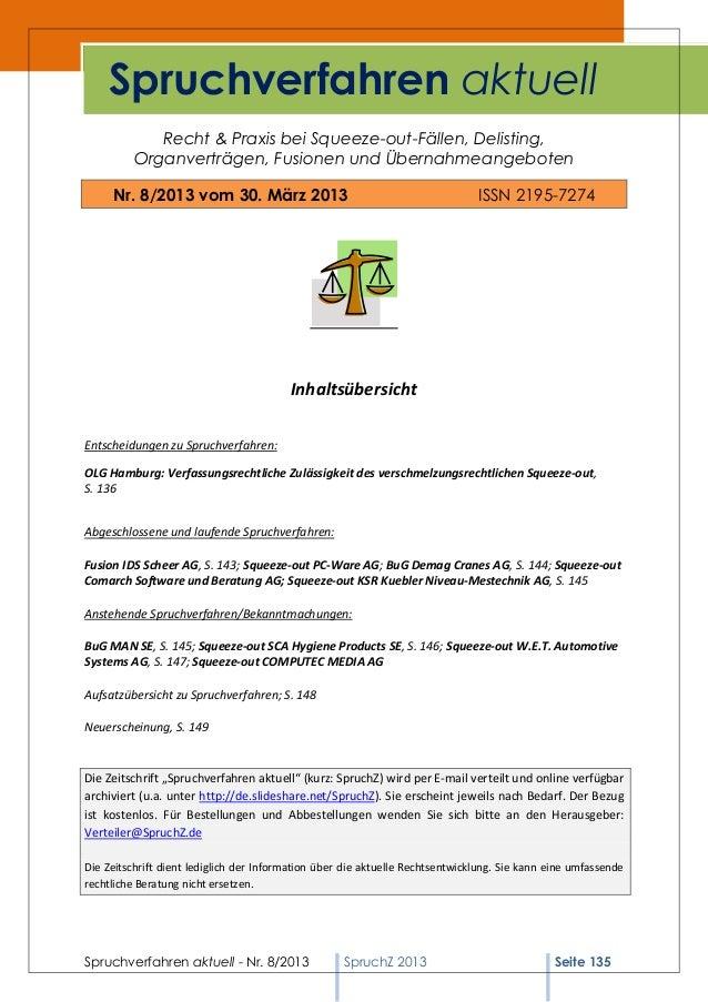 Spruchverfahren aktuell (SpruchZ) Nr. 8/2013