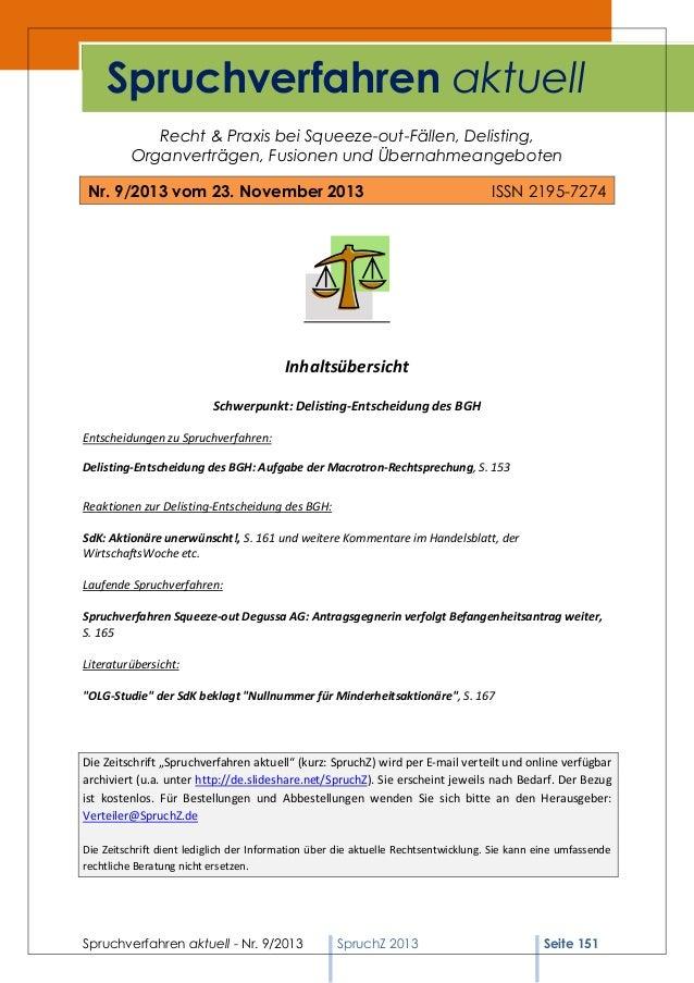 Spruchverfahren aktuell (SpruchZ) Nr. 9/2013