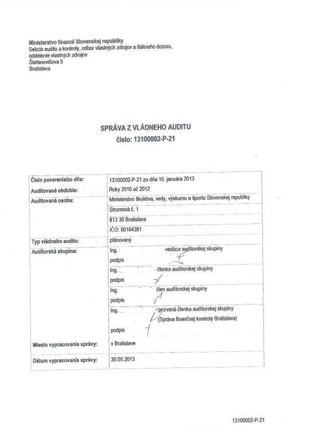 Správa z vládneho auditu vykonanom na ministerstve školstva (2013)
