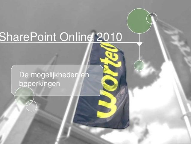 SharePoint Online 2010 - de mogelijkheden en beperkingen