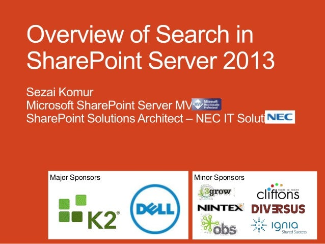 SharePoint Saturday Perth 2013  - Overview of Search in SharePoint Server 2013 - Sezai Komur