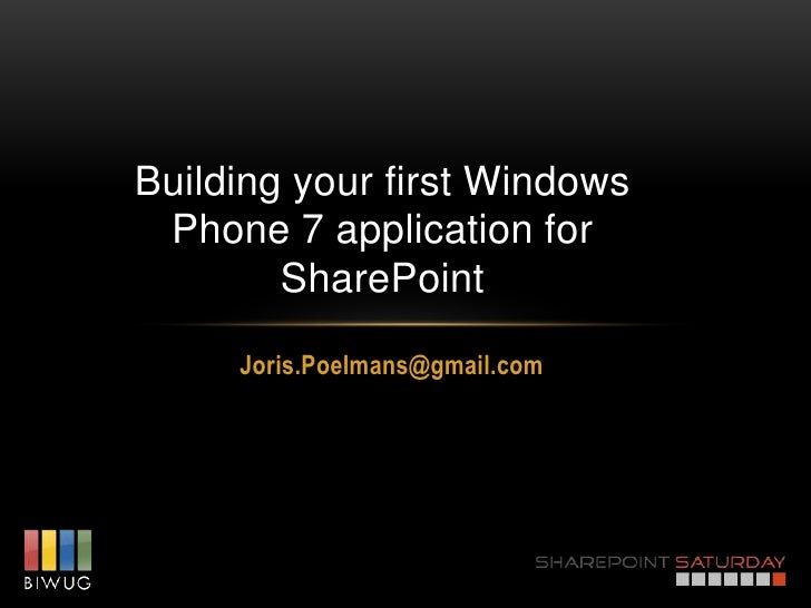 Building your first Windows Phone 7 application for SharePoint