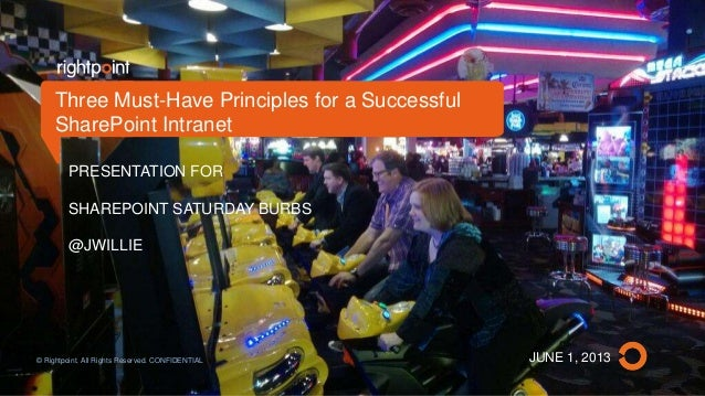 JUNE 1, 2013PRESENTATION FORSHAREPOINT SATURDAY BURBS@JWILLIEThree Must-Have Principles for a SuccessfulSharePoint Intrane...